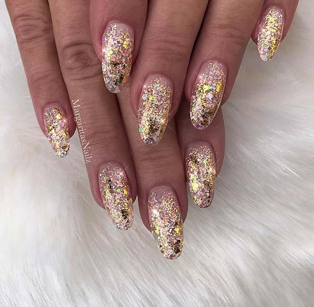 Glam, Gold Glitter Gel Nails