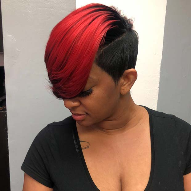 Black and Red Short Hairstyle