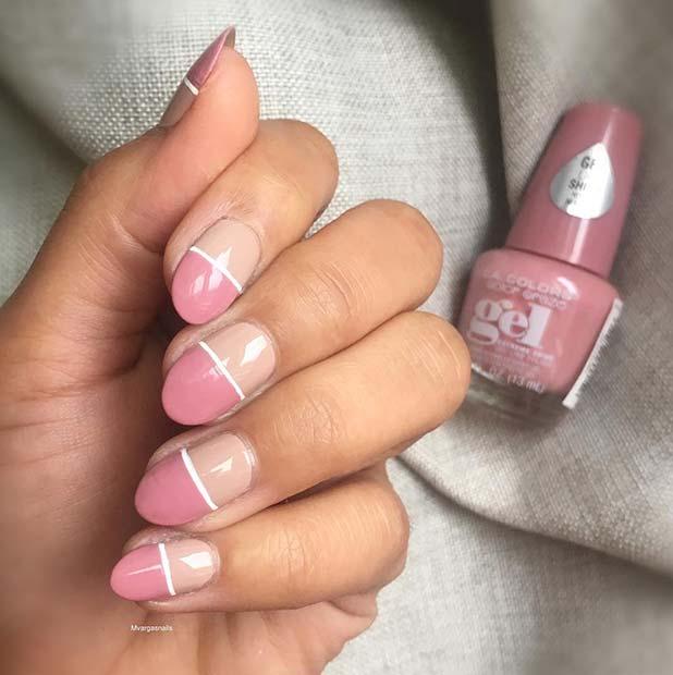 Stylish Half Pink, Half Nude Nails