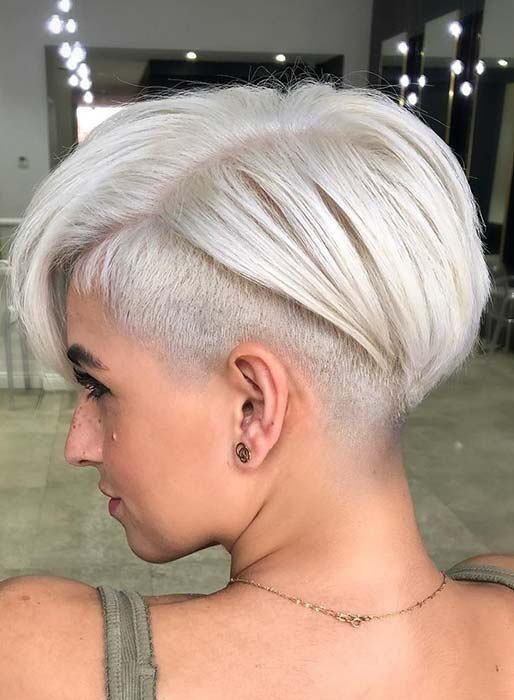 Short, Icy Blonde Haircut with Undercut