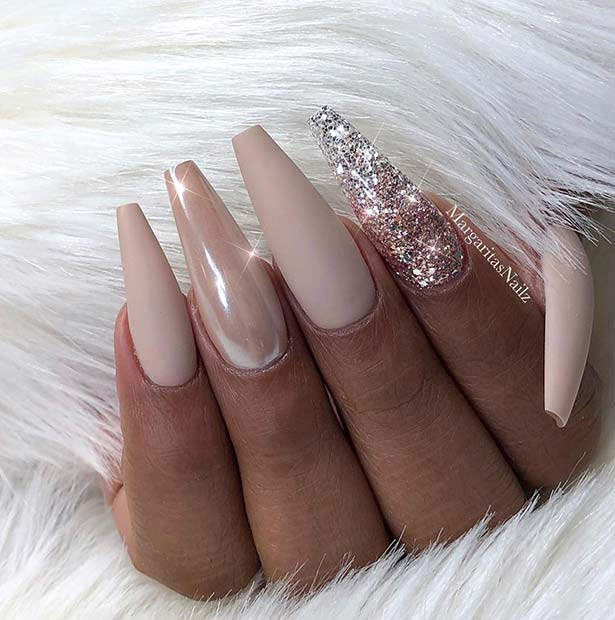 Nude Mate Nails with Glitter