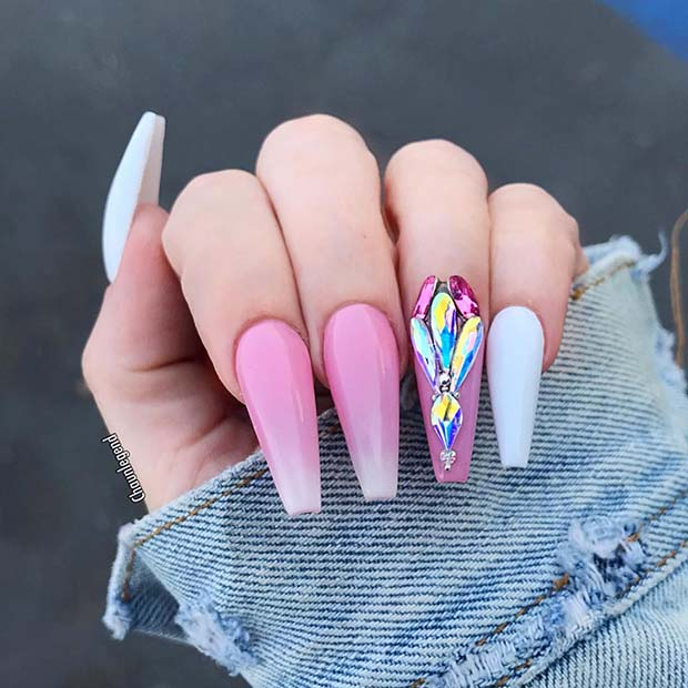 Long, Pink Coffin Nails with Crystals