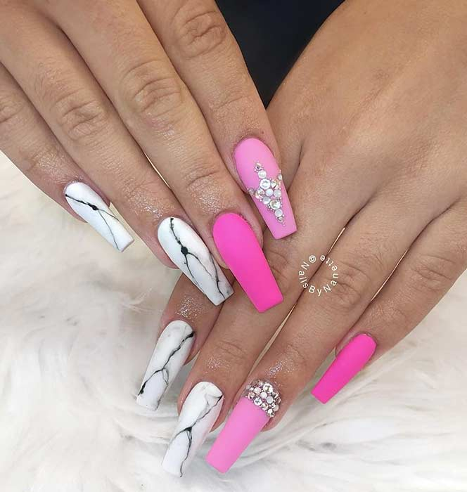 Pink and White Marble Nail Design