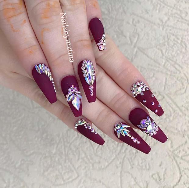 Matte Burgundy Nail Design with Rhinestones