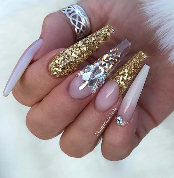 Trendy Long Coffin Nails with Sparkle