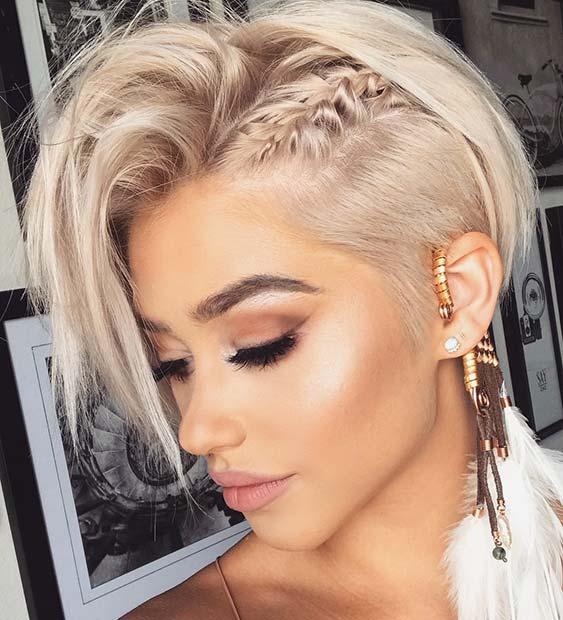 Blonde, Long Pixie Cut