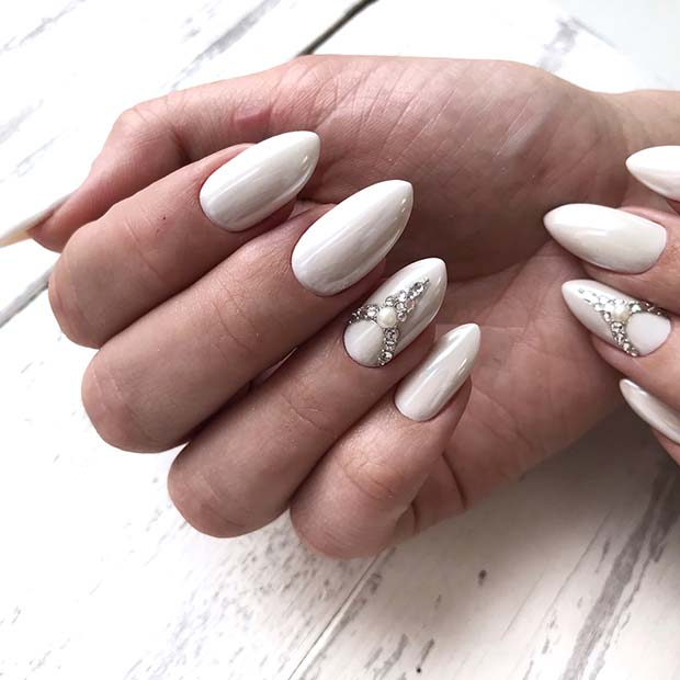 White Nails with Sparkly, Pearl Accent Nail