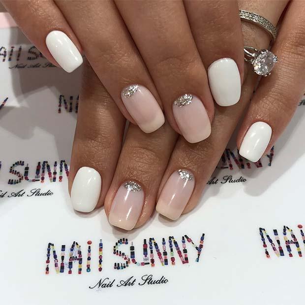 White and Glitter Wedding Nail Idea