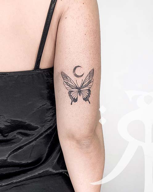 Butterfly and Moon Tattoo Design