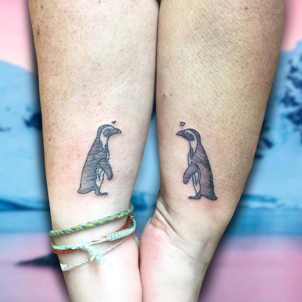 Cute Matching Penguin Tattoos