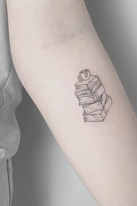 Simple and Small Book Tattoo Idea with Coffee