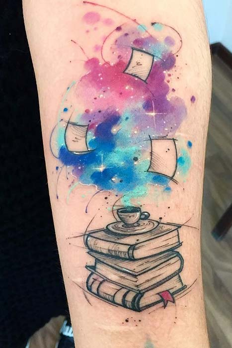 Watercolor Pile of Books Tattoo Idea