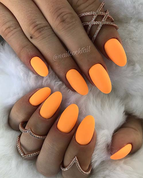 Matte, Bright Orange Nails
