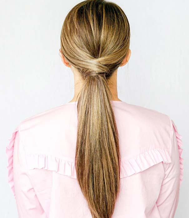 2. Low, Crisscross Ponytail