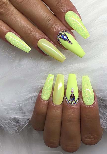 Neon Coffin Nail Design