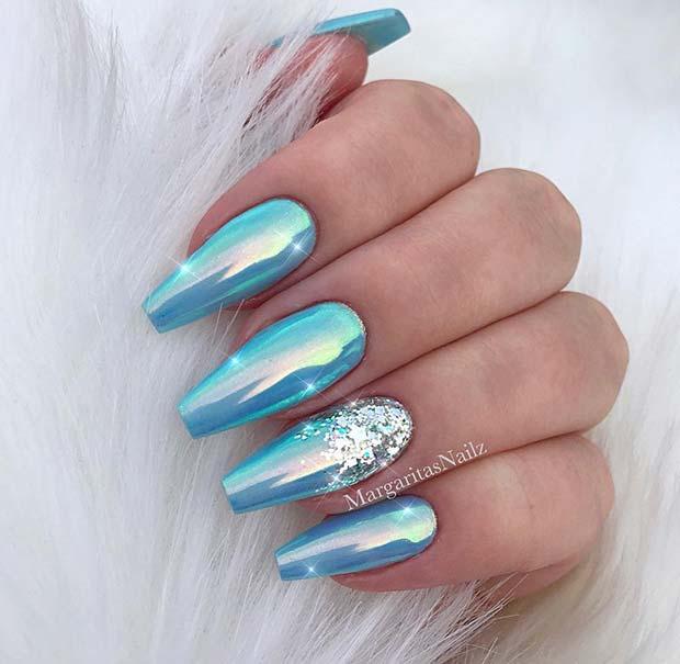 3. Light Blue Chrome Nails