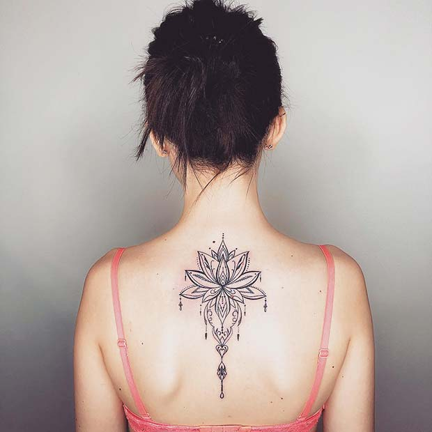 Lotus Back Tattoo Idea