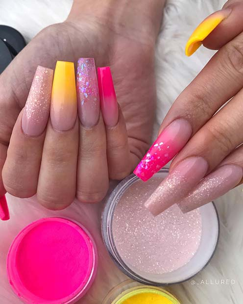Neon Ombre Nails with Glitter