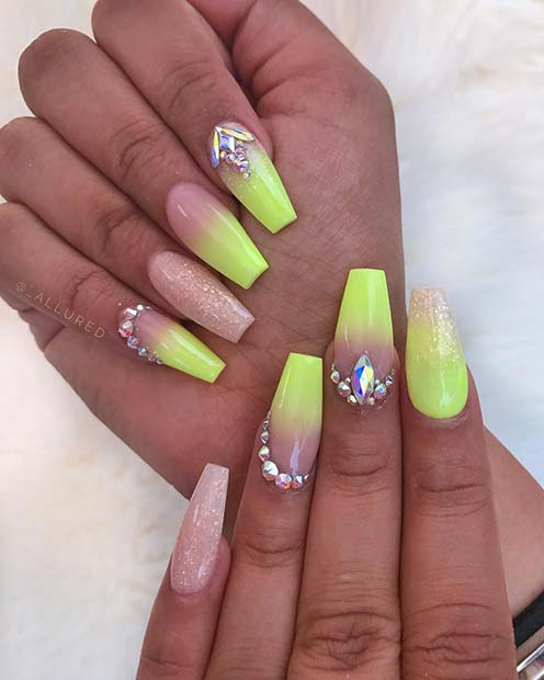 Neon Lime Green Nail Design