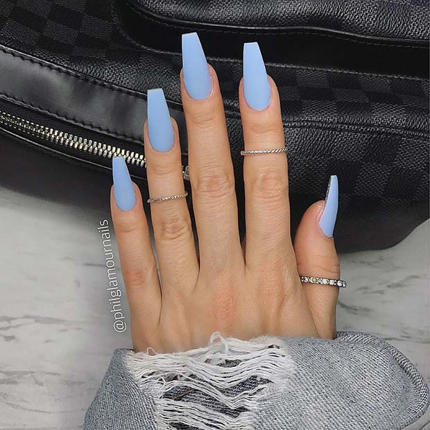 12. Matte Pastel Blue Nail Idea
