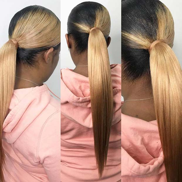 10. Stylish Black and Blonde Ponytail