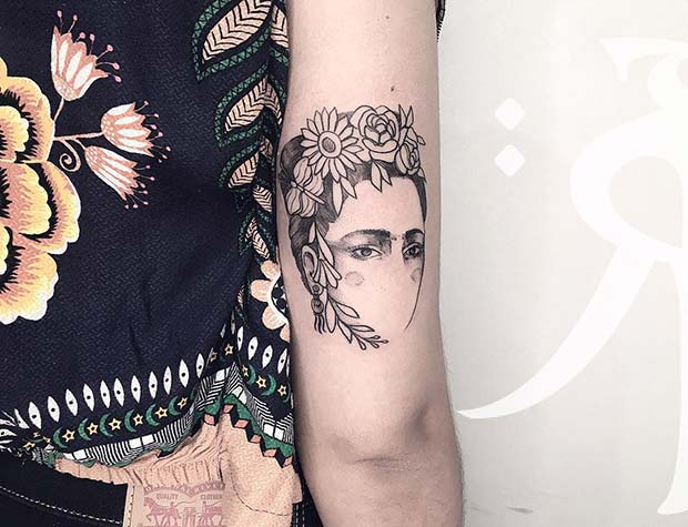 Trendy Frida Kahlo Tattoo