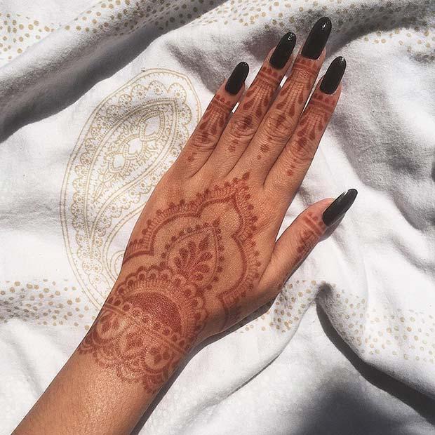 Red Henna Hand Design
