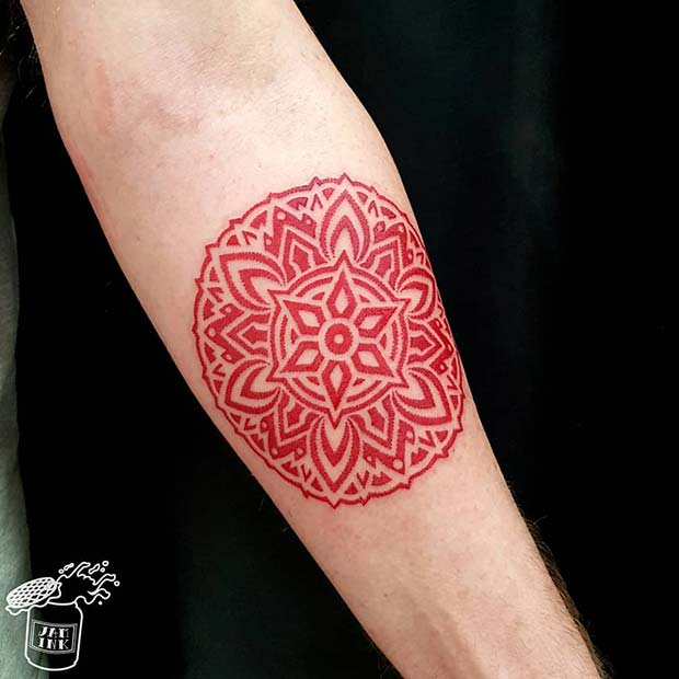 Trendy Red Mandala Tattoo