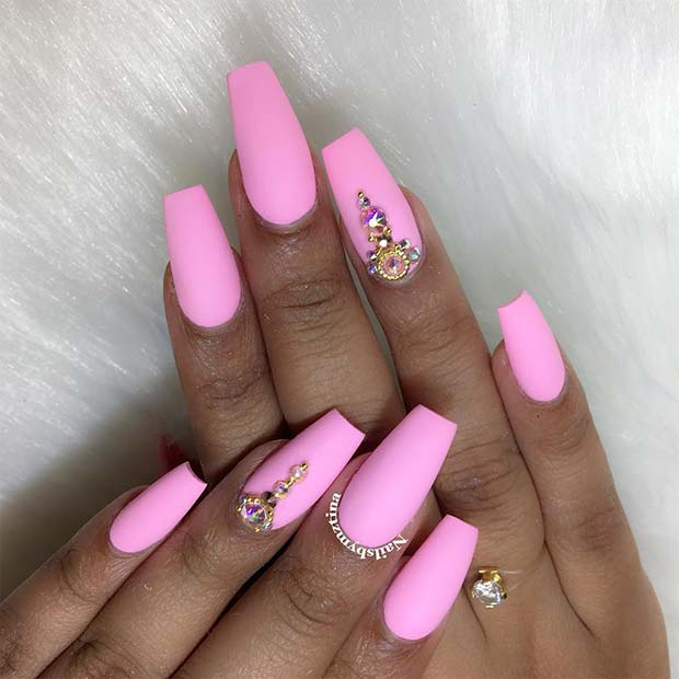 Matte Light Pink Nails