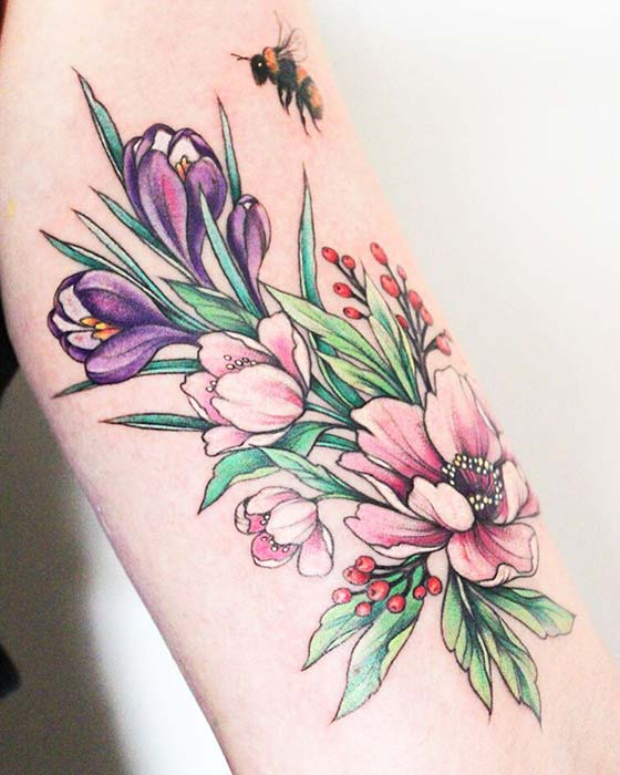 Botanical Peony Design with a Bee