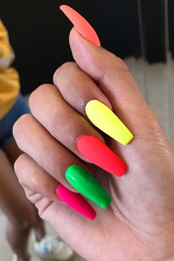 Colorful Matte Coffin Shaped Nails