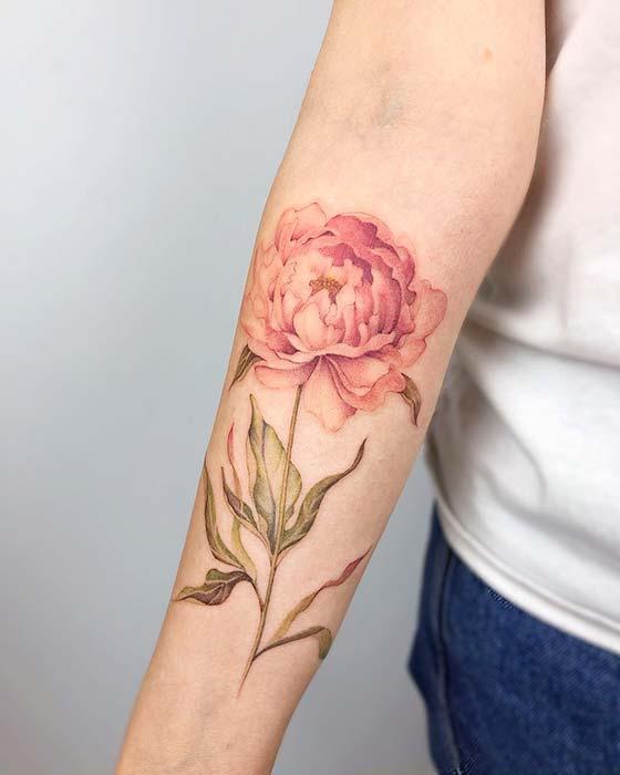 Elegant Peony Tattoo Design