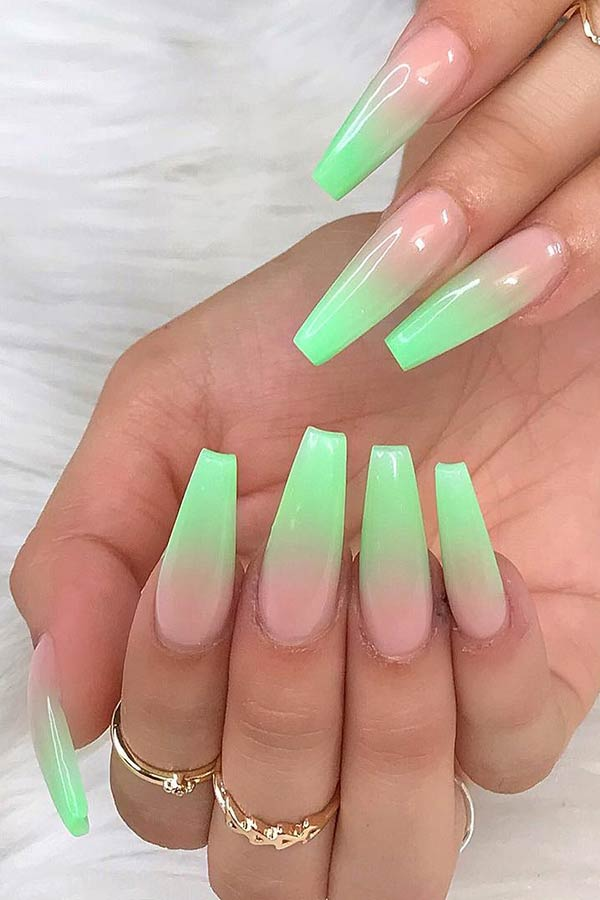 Light Green Ombre Coffin Nails