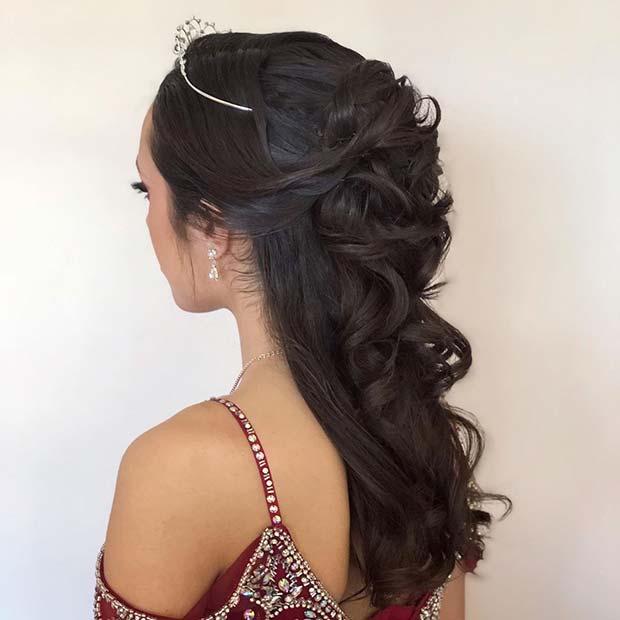 Long Curls with a Pretty Tiara