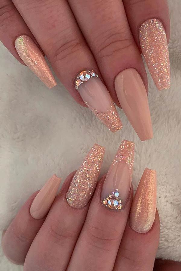 Nude and Glitter Design for Coffin Shaped Nails