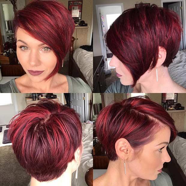Short Red Asymmetrical Haircut
