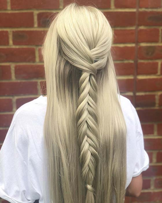 Sleek, Half Up Fishtail Braid