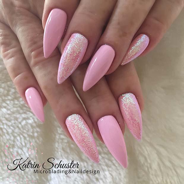 Light Pink Stiletto Nails