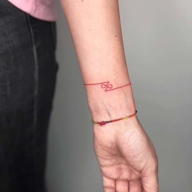Stylish Red Bracelet Tattoo