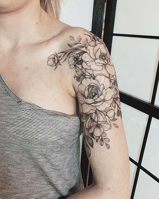 Trendy Peony Shoulder and Arm Tattoo Idea