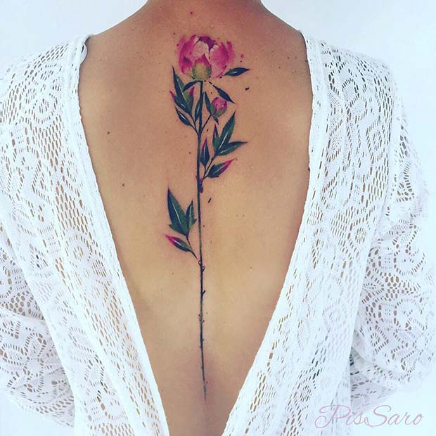 Watercolor Peony Back Tattoo