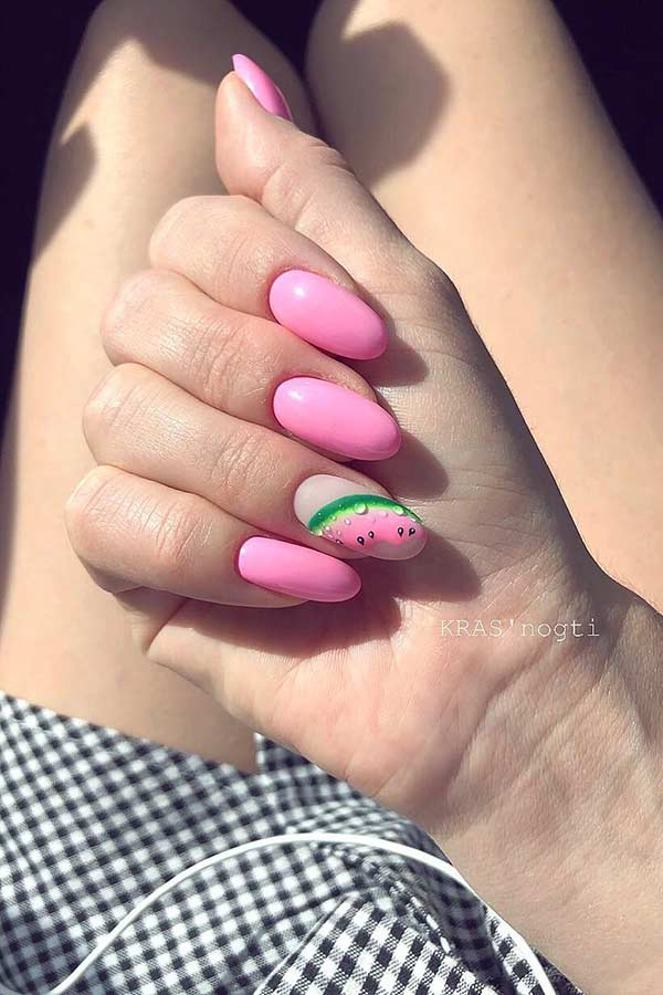 Cute Watermelon Nails for Summer