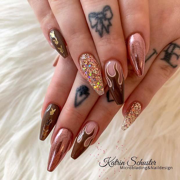 Glitzy Flame Nails