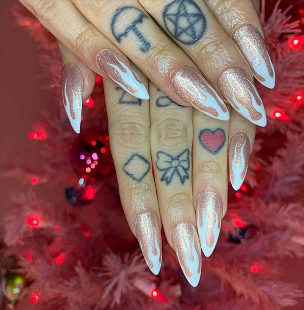Rose Gold Nails with White Flames