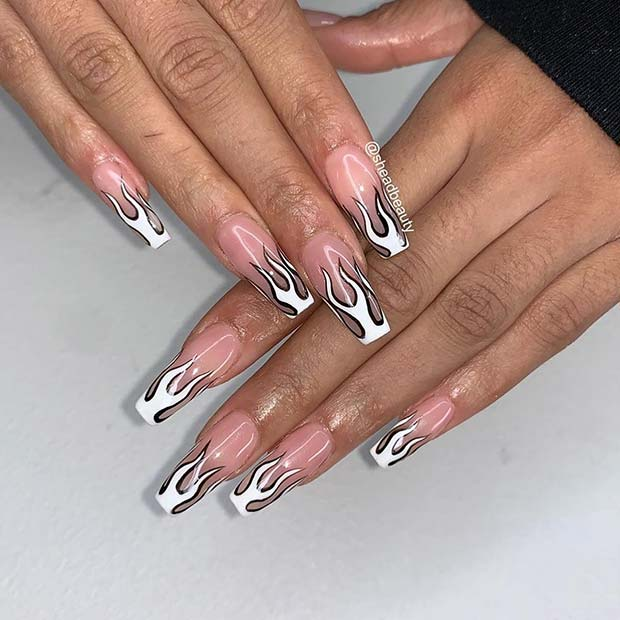 Trendy White and Black Flames