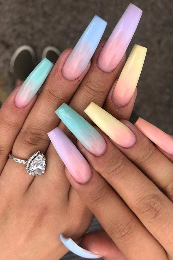 Pastel Rainbow Ombre Nails