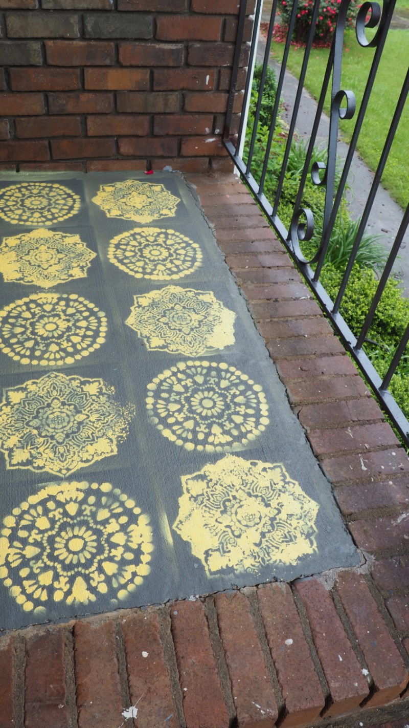 Here is my stencil on the porch Pinterest Fail in living color! It was repainted as soon as everything dried. | via Stay gold Autumn