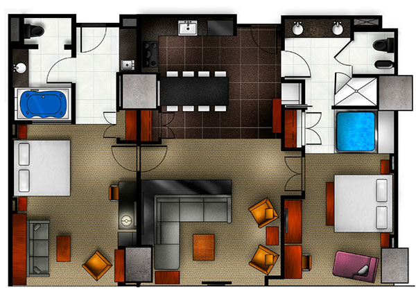 Hotel Suite Floor Plans 4 Beds