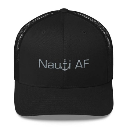Nauti AF Trucker Hat in Black with Grey