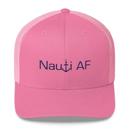 Nauti AF Trucker Hat in Pink and Navy
